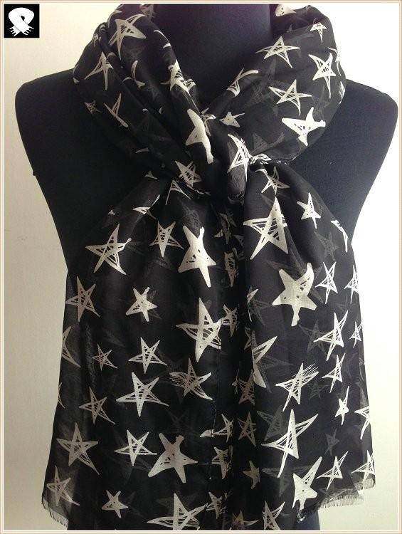 Stars prints polyester scarf, china scarf factory