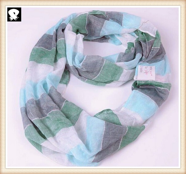 Striped infinity scarves for women