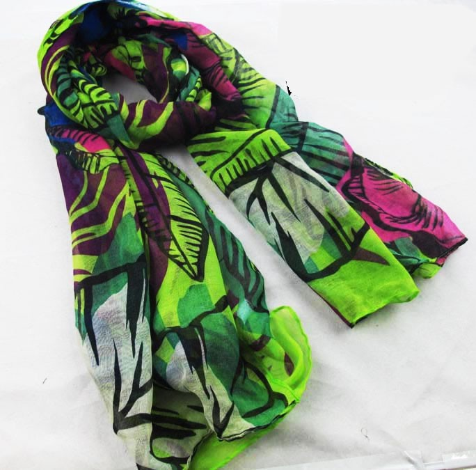abstract flowers polyester scarf