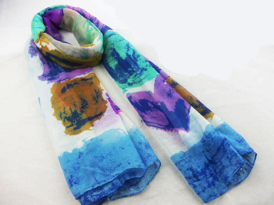 abstract printed polyester scarf