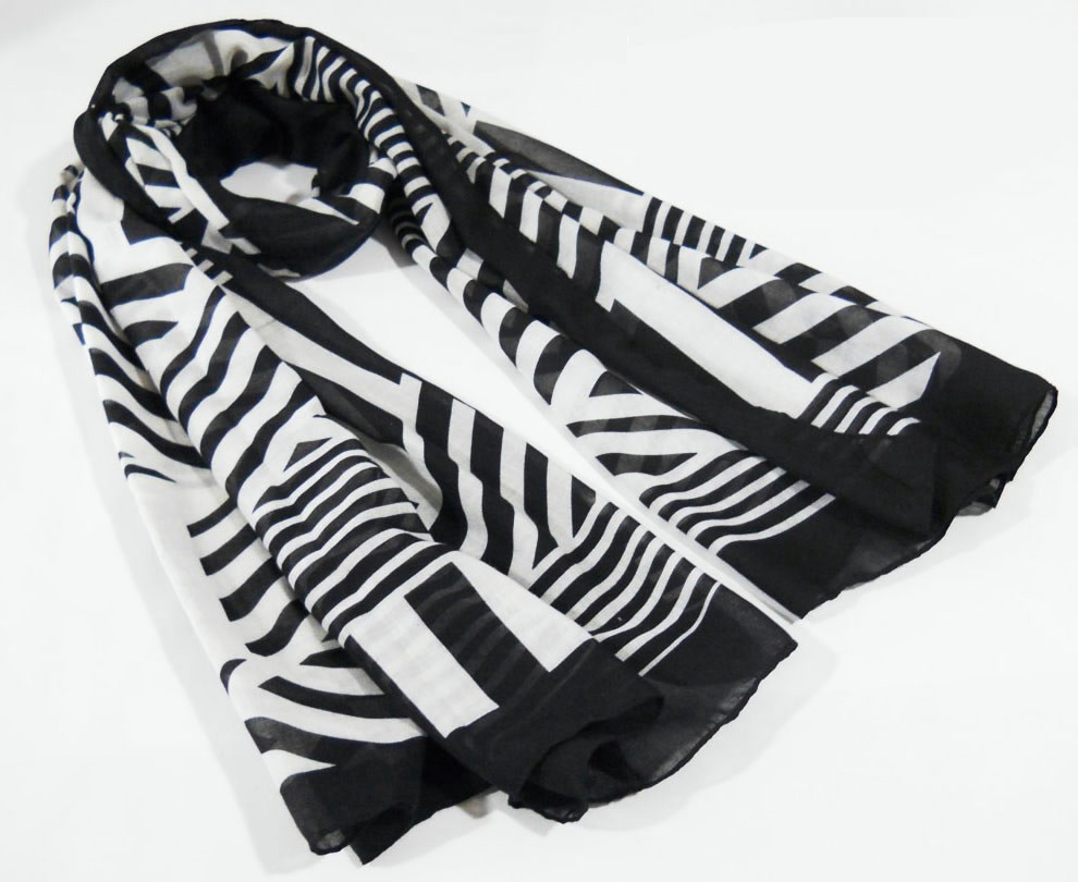 black& white scarf made in China scarf factory