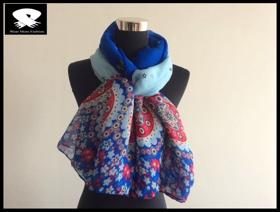blue flowers and red stars polyester scarf