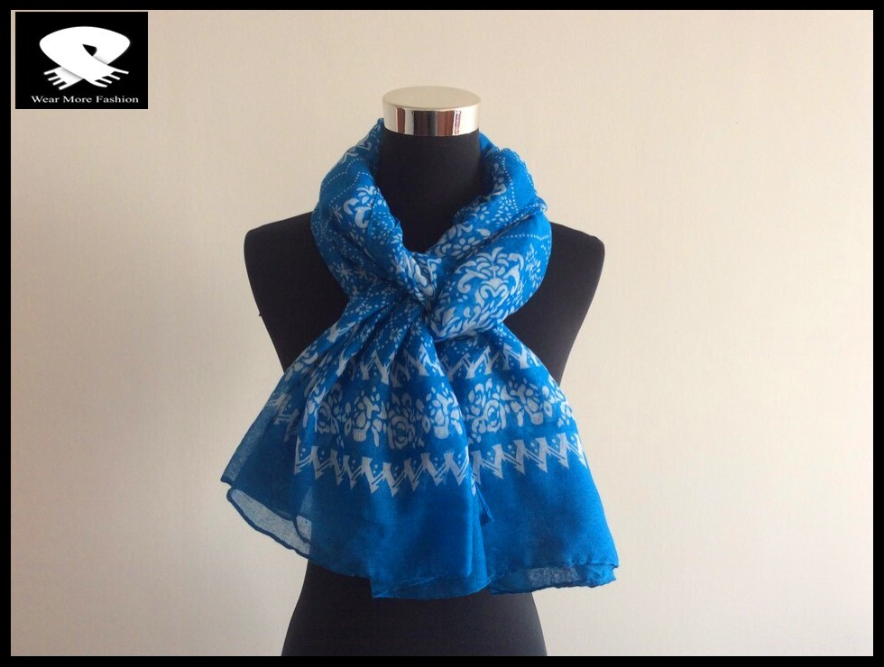 blue scarf made from scarf factory in China