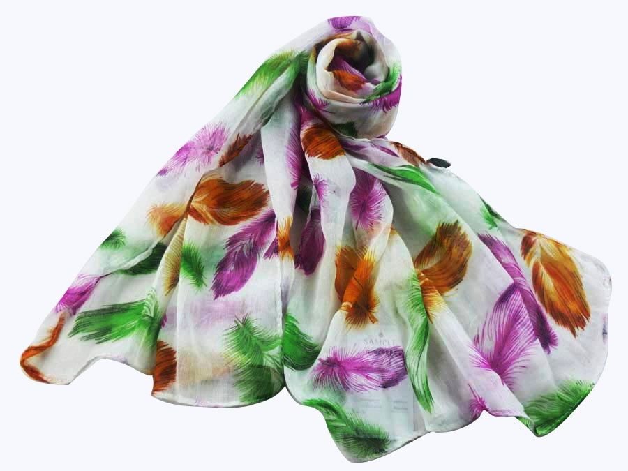 feathers print scarf