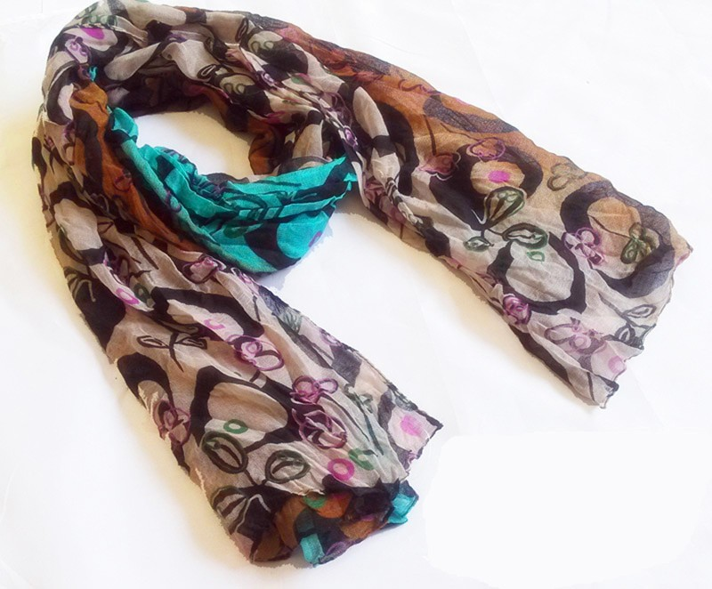 floral printed polyester scarf