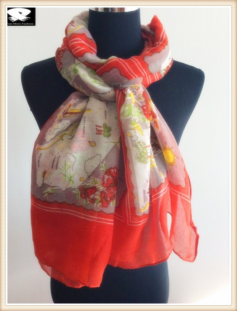 map printed polyester scarf