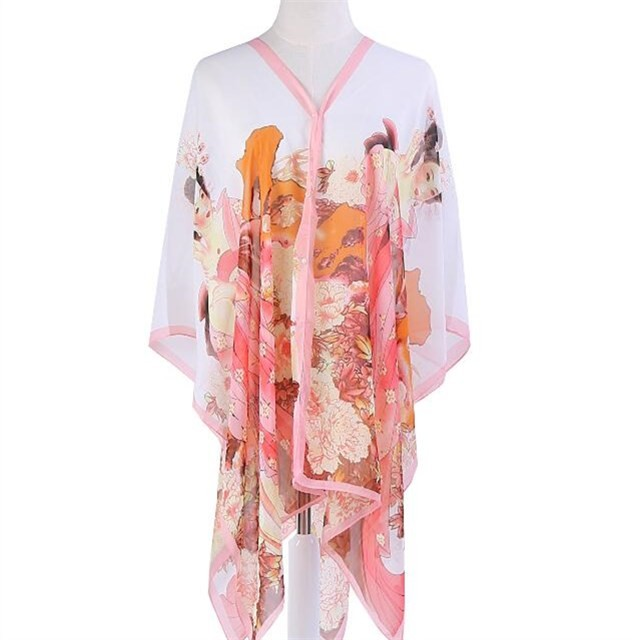 Chiffon printed shawl in China scarf factory