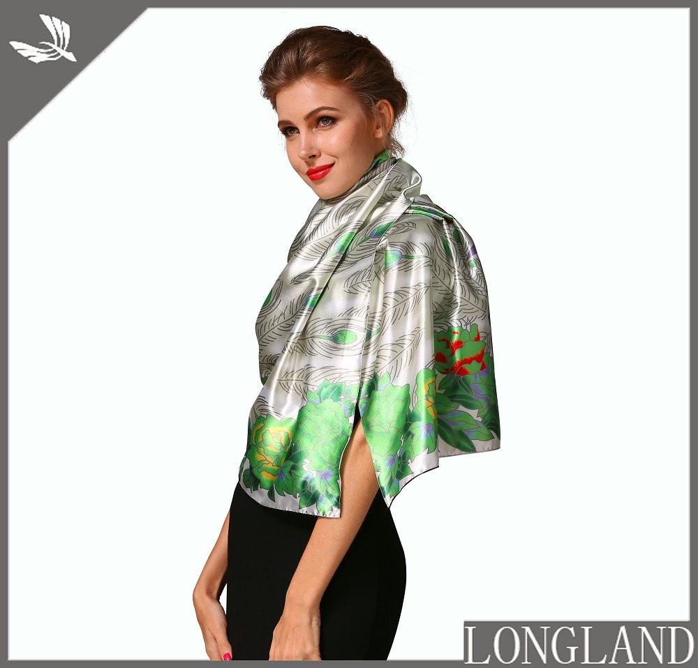 China ponchos factory digital printed satin scarf