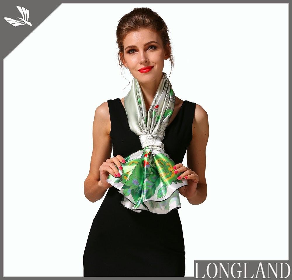 China ponchos factory digital printed satin scarf
