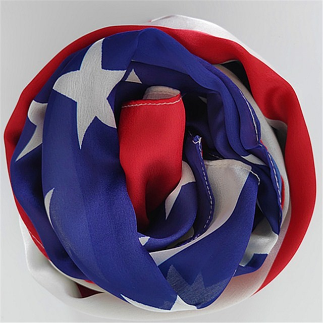 China scarf factory custom USA flag printed poly new silk scarf