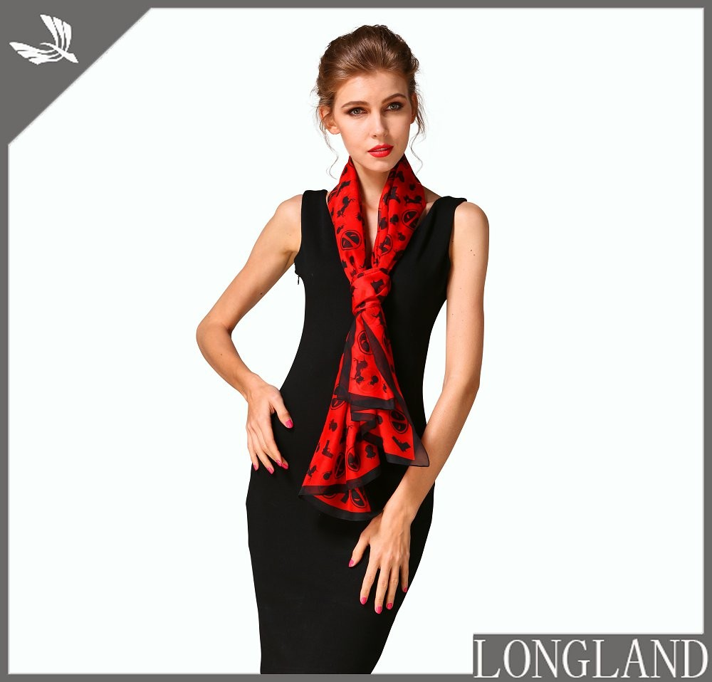 China scarf factory custom print poly-satin scarf
