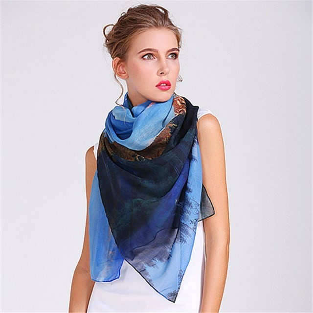 China scarf factory hot transfer printed poly scarf