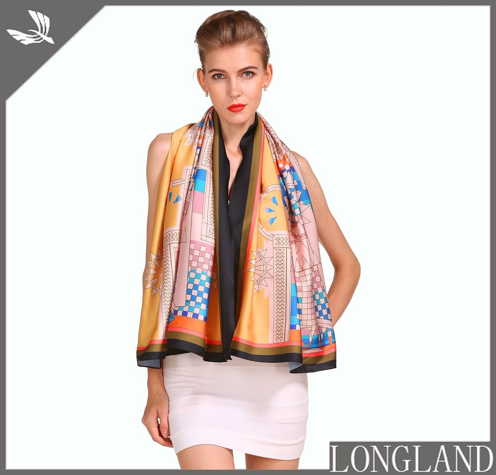 China scarf factory printed chiffon ladies wraps