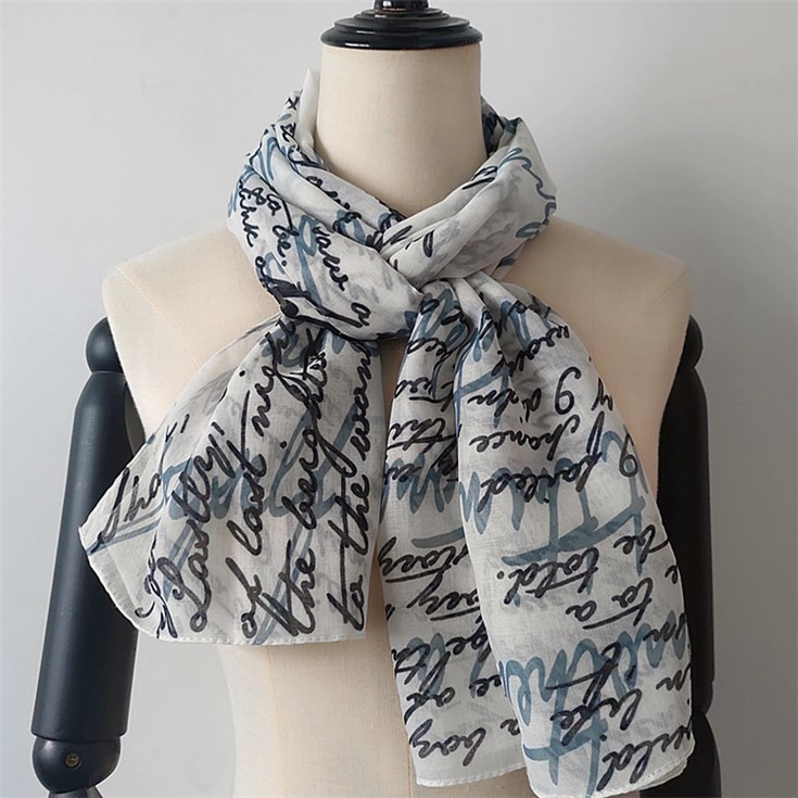 China scarf factory printed custom texts designs on the polyester scarf