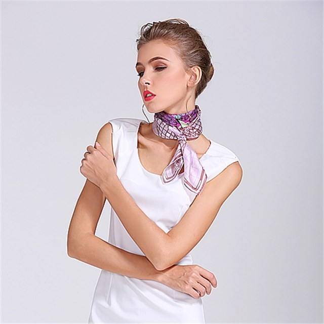 China scarf factory sublimation printed silky poly scarf bandana