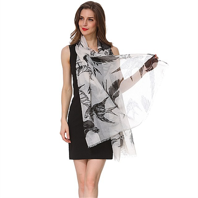 China scarf factory swallow printed polyester scarf