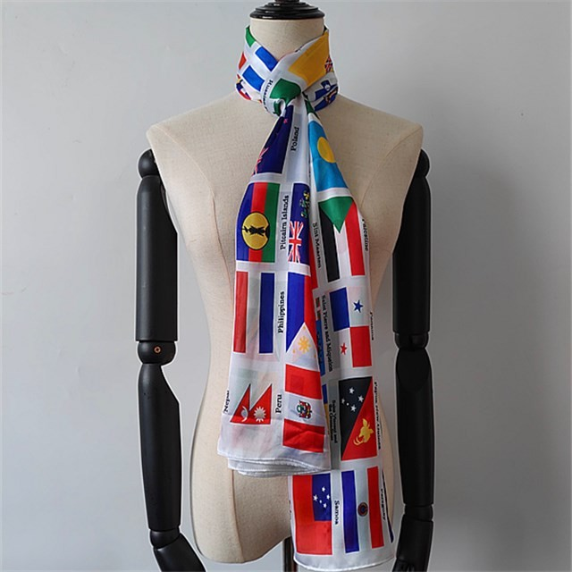 China scarf supplier custom countries flags printed poly new silk scarf