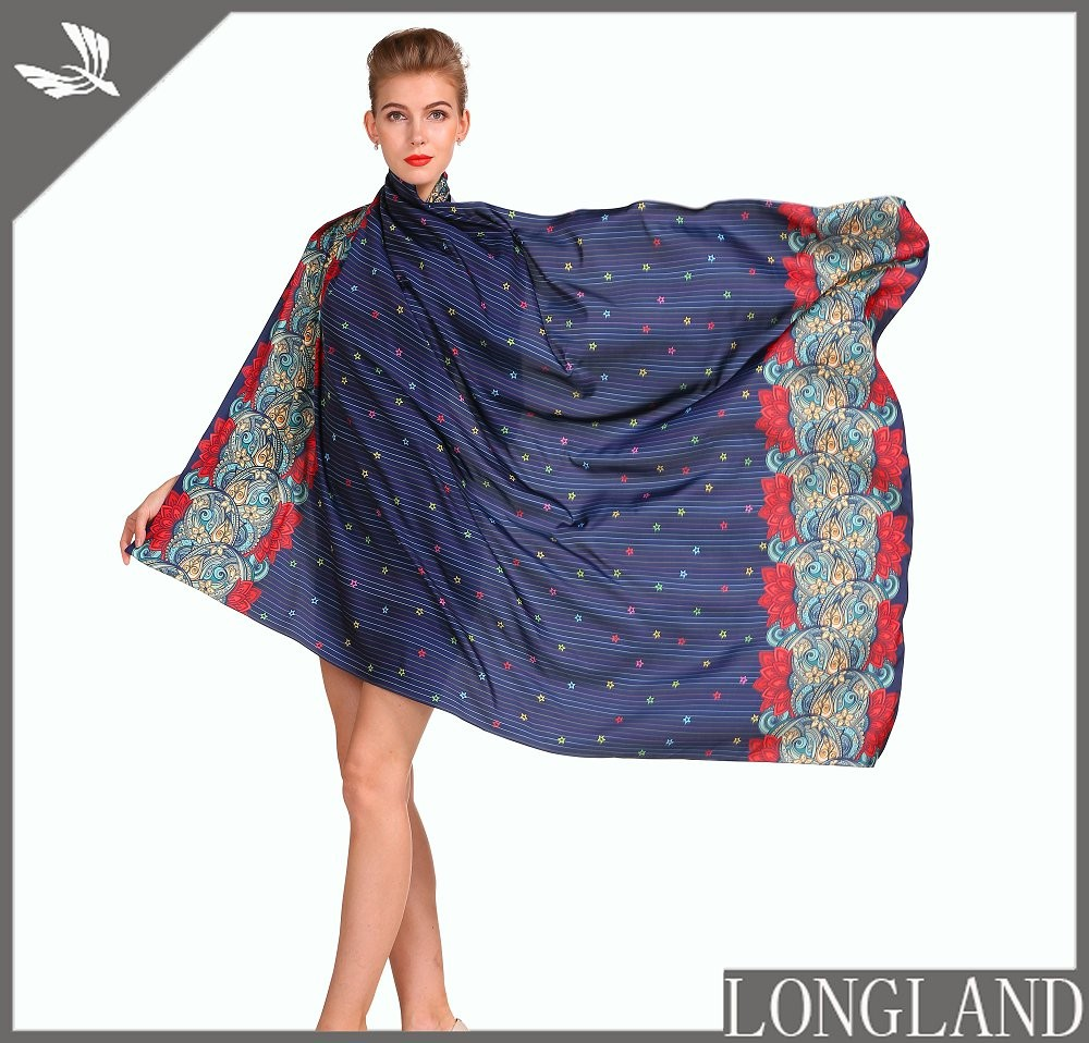 Custom digital ponchos in china scarf factory