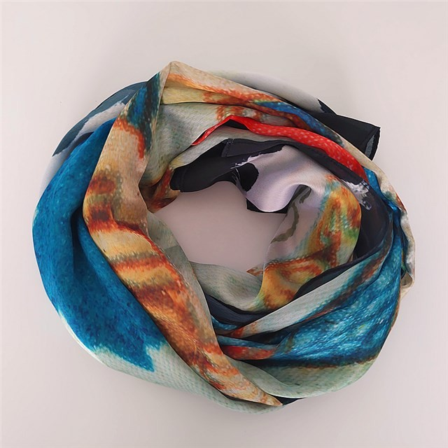 Custom digital printed old stamp poly new silk scarf in china scarf factory