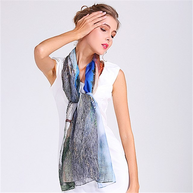 Custom mountain and river photo heat transfer scarf