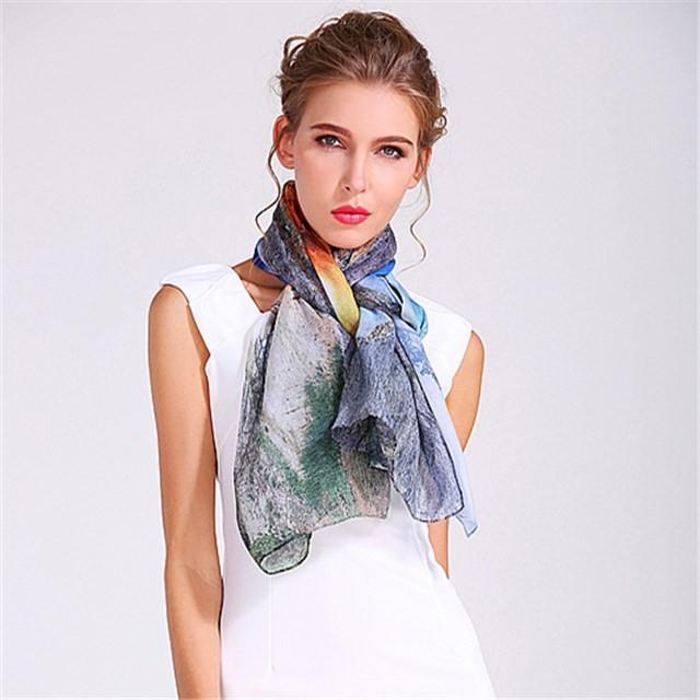 Custom mountain and river photo heat transfer scarf