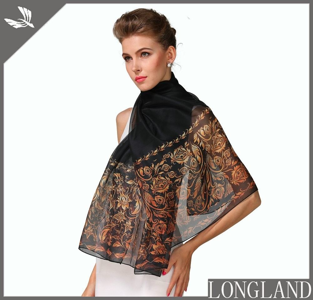 Digital printed chiffon poncho in scarf factory
