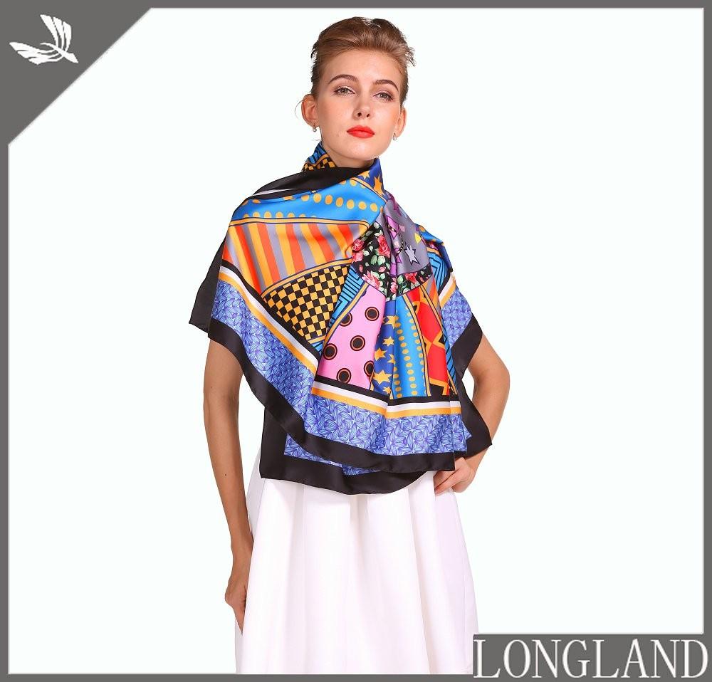 Digital scarf factory printed chiffon ponchos