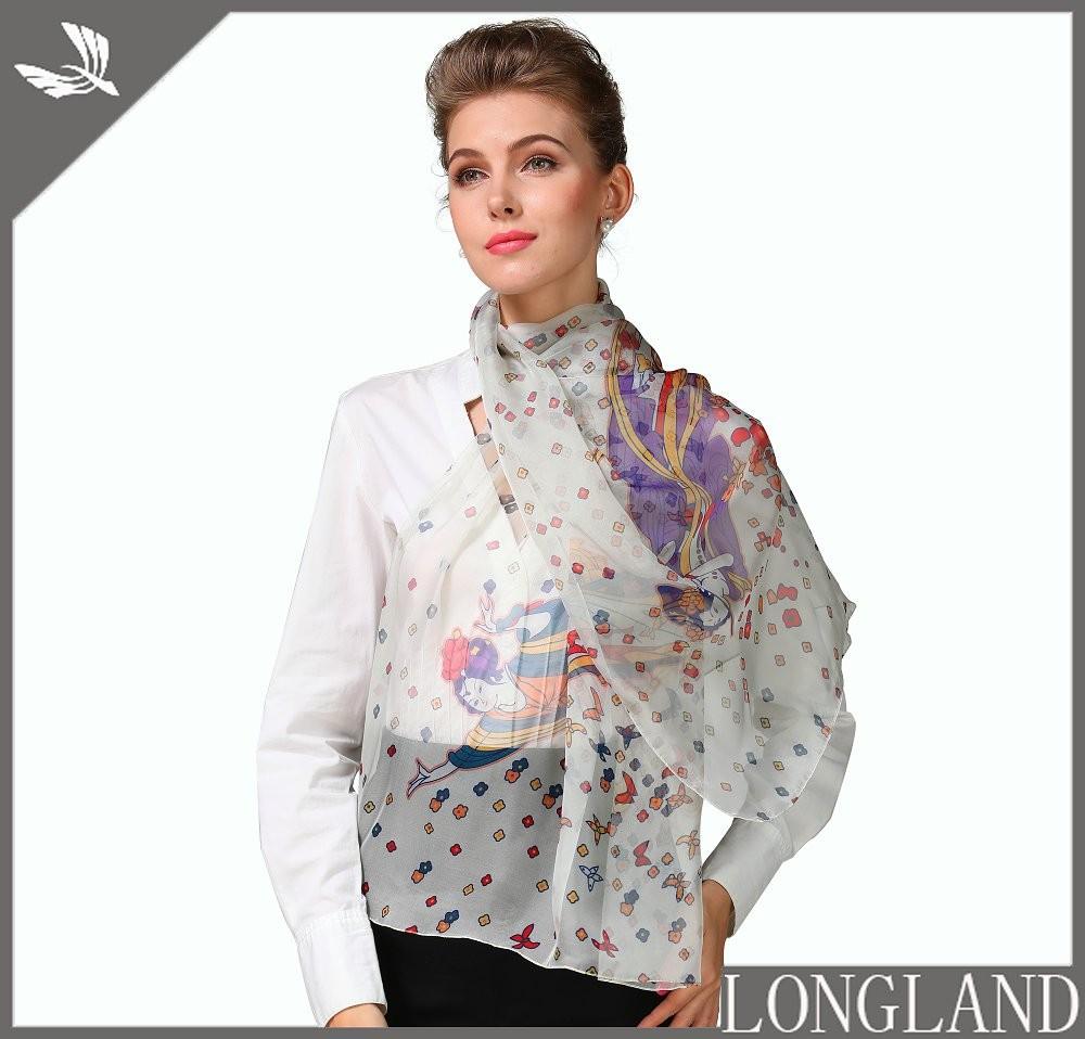 Elegant digital printed chiffon scarves for women