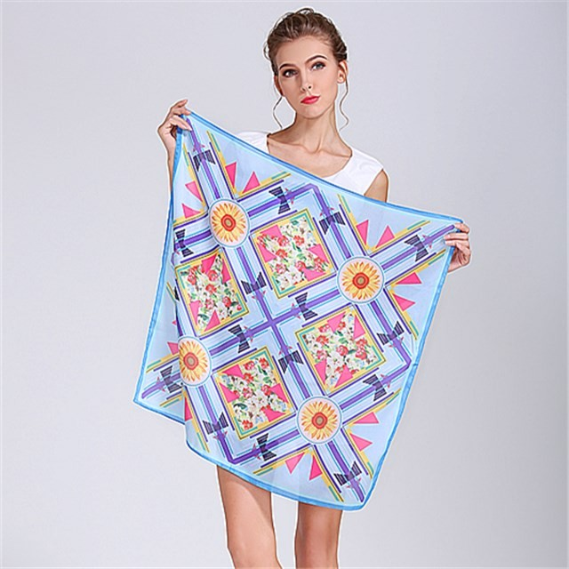 Handkerchief factory custom printed polyester silk scarf for women