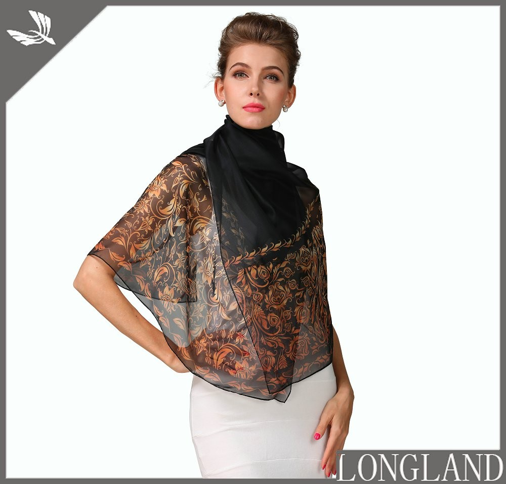 Ladies poly chiffon digital printed ponchos