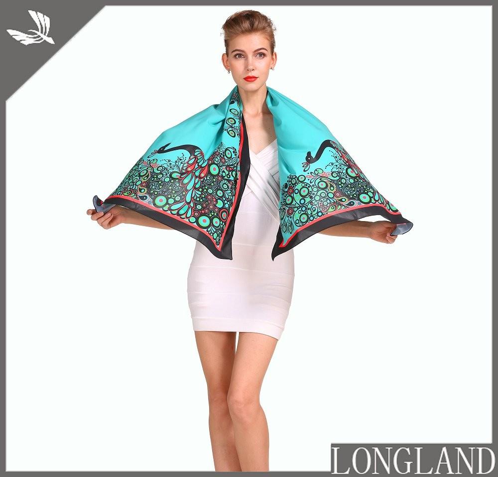 Peacock chiffon shawls in china scarf factory