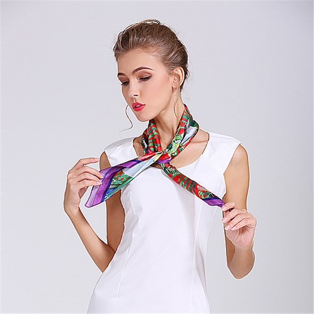 Poly new silk digital printed scarf bandana in china scarf factory