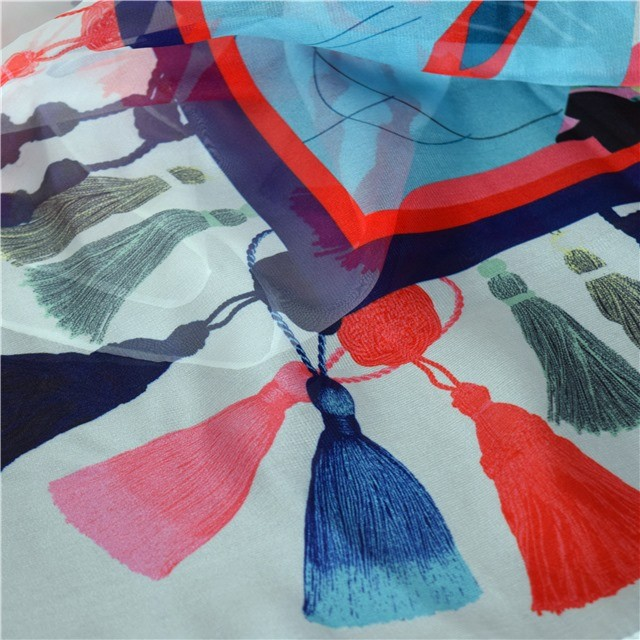 Scarf factory chiffon scarf with printed tassels
