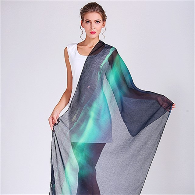 Scarf factory custom aurora photo printed scarf shawl