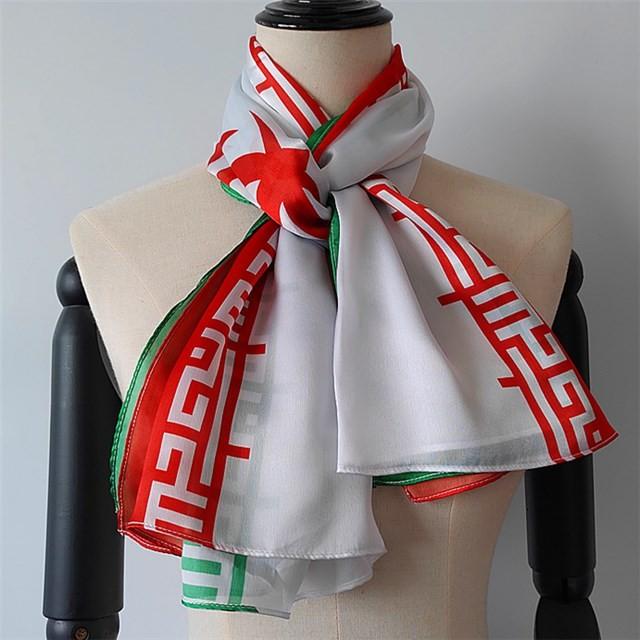 Scarf supplier china custom Iran flag printed poly new silk scarf