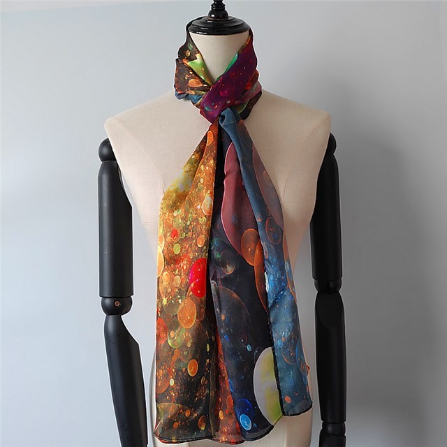 Scarf supplier china custom made designs printed poly new silk scarf