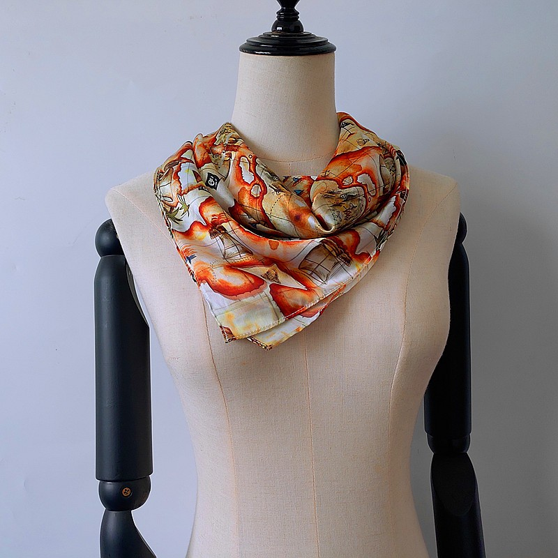 Scarf supplier china wholesale map printed new silk bandanna scarf in bulk