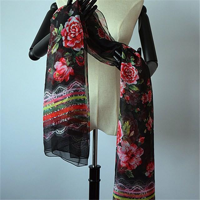 Silk scarf factory digital printed chiffon scarf