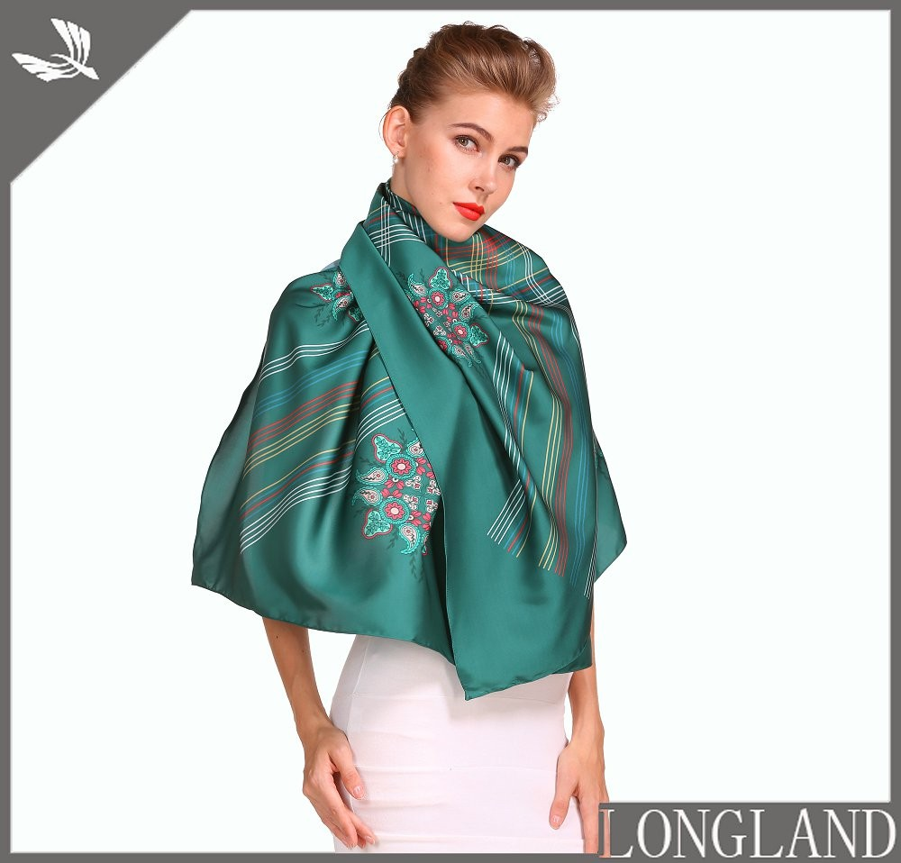 Silky poly custom photo print scarf in our factory