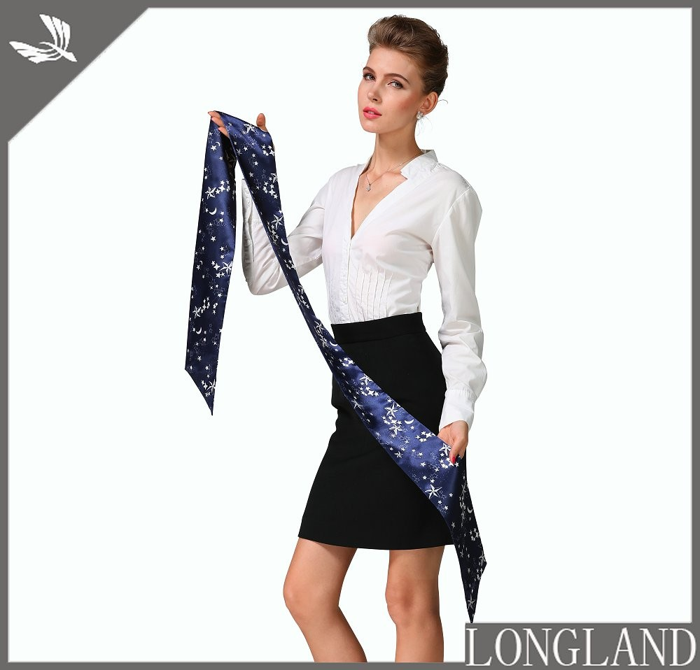 Silver foil printed stars skinny scarf for women