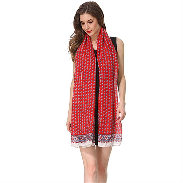 Stylish red polyester scarf in China scarf factory