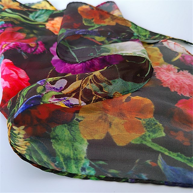 Triangle shape flowers printed polyester headband scarf
