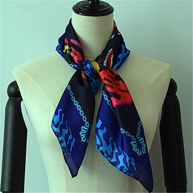 Wholesale custom fishes printed poly new silk bandanna scarf