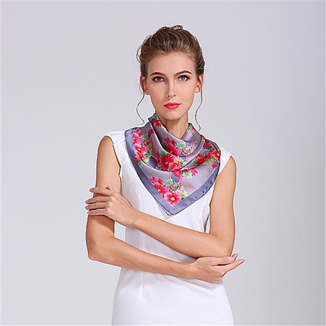 Women's silky scarf custom square size sublimation printed bandanna