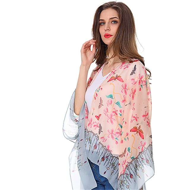 Custom butterfly printed chiffon shawl and scarves