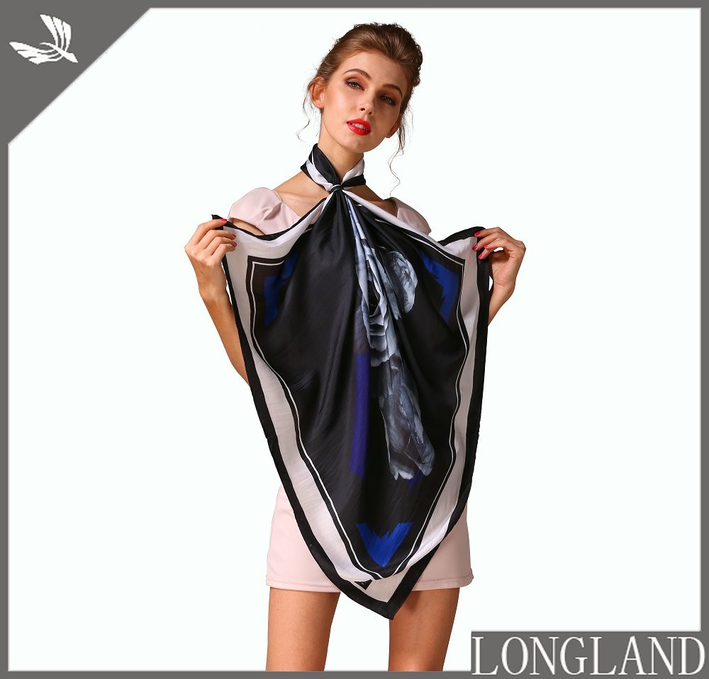 Digital printed custom square silk twill scarves