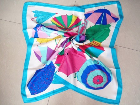 Multicolor umbrella silk scarf