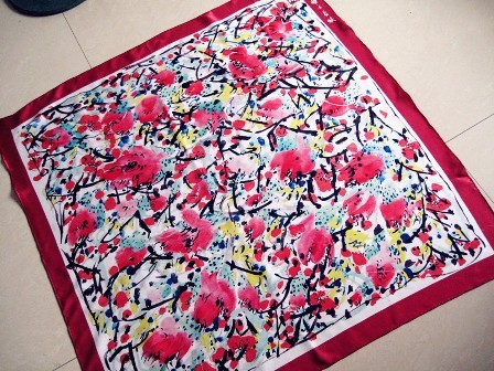 Red scarf, stylish floral print, silk material
