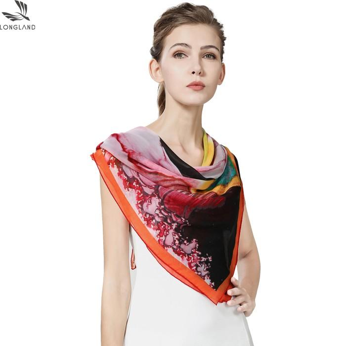 Scarf factory custom silk head scarves with logo
