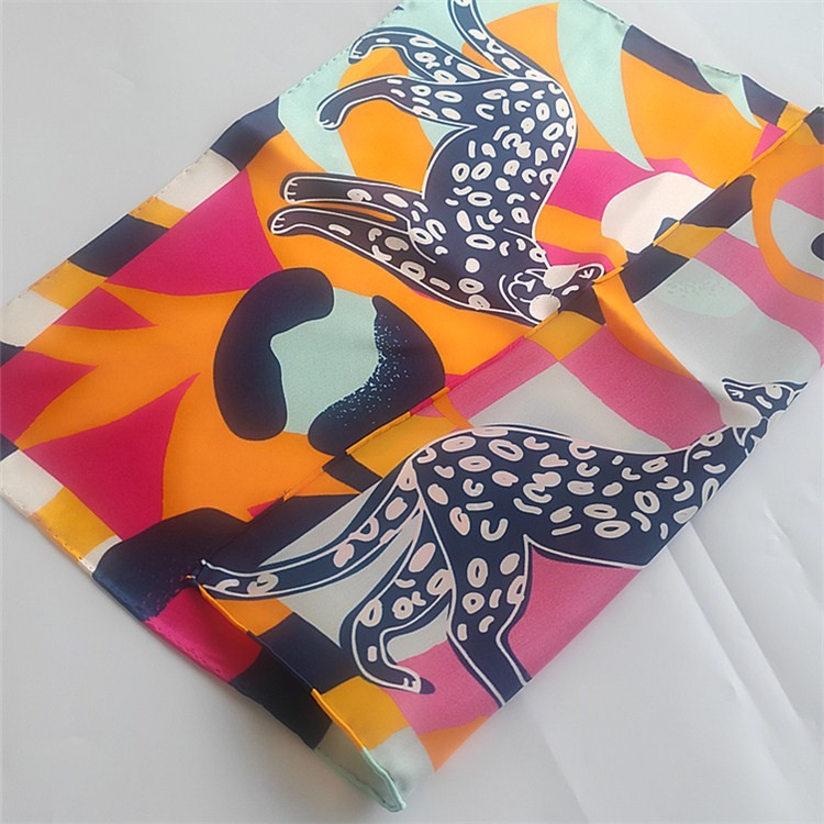 Custom digital print silk head neck scarf with logo